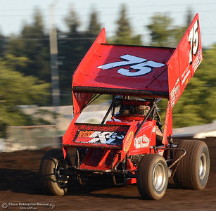 Sean Becker races his 360 sprint car Friday, Aug. 5, 2016, during Points Race No. 13 at the Silver Dollar Speedway in Chico, California. (Dan Reidel -- Enterprise-Record)