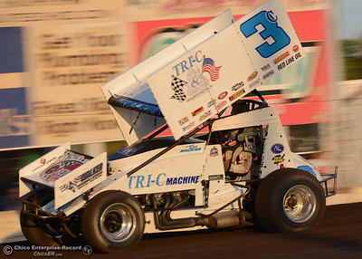 Tyler Walker (3c) wins the second heat for the 360 sprint cars with a late pass Friday, Aug. 5, 2016, during Points Race No. 13 at the Silver Dollar Speedway in Chico, California. (Dan Reidel -- Enterprise-Record)