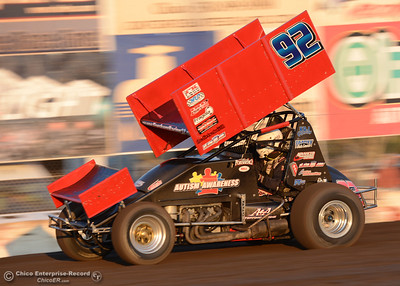 Andy Forseberg (92) takes the win in his 360 sprint car heat Friday, Aug. 5, 2016, during Points Race No. 13 at the Silver Dollar Speedway in Chico, California. (Dan Reidel -- Enterprise-Record)