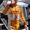 Driver Ryan Hunter-Ray after being introduced before the Las Vegas Indy 300 Oct. 16, 2011