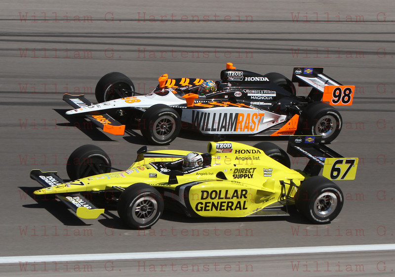 Ed Carpenter (#67) & Alex Tagliani (#98) started in Row 2 after qualiftying at over 221mph for the Las Vegas Indy 300. Oct. 16, 2011