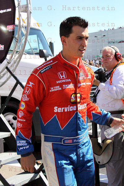 Driver Graham Rahal after being introduced before the Las Vegas Indy 300 Oct. 16, 2011