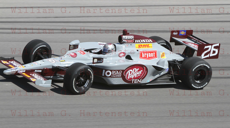 Marco Andretti in turn 4 after horrifying crash that ended the Las Vegas Indy 300. Oct. 16, 2011