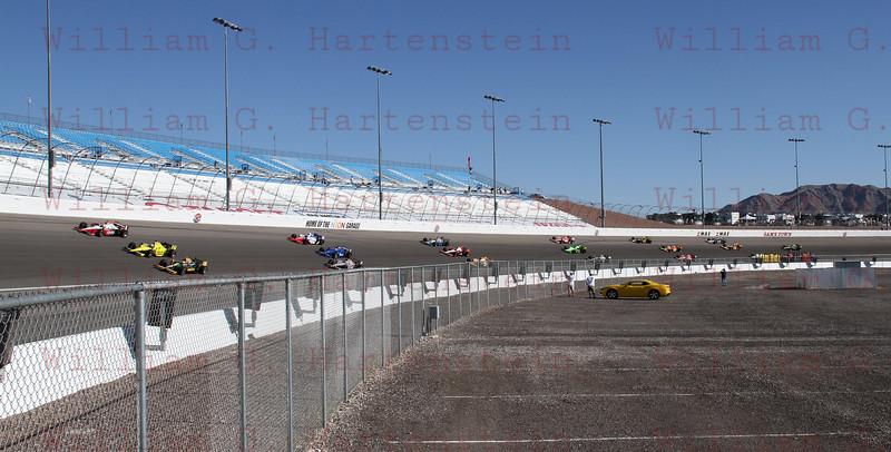 The IRL drivers do a 5 lap tribute to Dan Wheldon after he was fatally injured at Las Vegas Motor Speedway