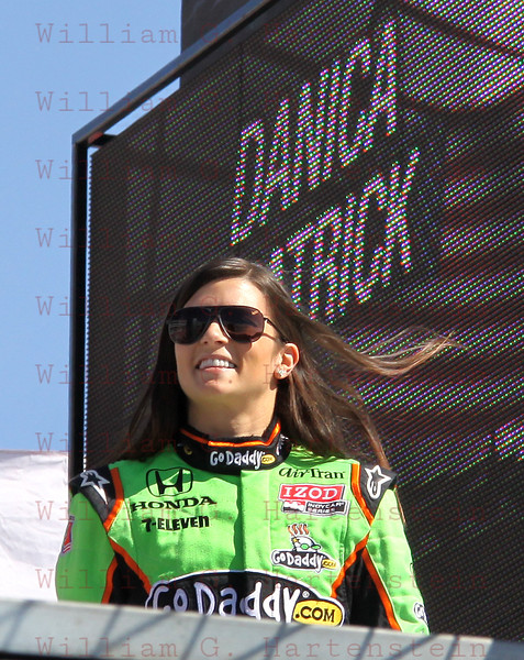 Driver Danica Patrick after being introduced before the Las Vegas Indy 300 Oct. 16, 2011