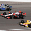 James Hinchcliffe #06, Helio Castroneves #3 & Ryan Hunter Reay #28 in the 5 lap tribute to Dan Wheldon.