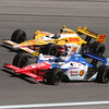 Graham Rahal leads Ryan Hunter-Reay into turn 4 at the Las Vegas Indy 300. Oct. 16, 2011