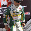 Driver Tony Kanaan after being introduced before the Las Vegas Indy 300 Oct. 16, 2011
