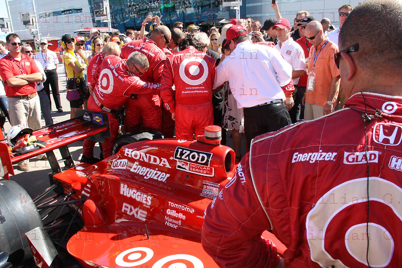 Chip Ganassi's Team Target with Dario Franchitti on the grid before the start of the Las Vegas Indy 300. Oct. 16, 2011