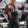 Driver Ryan Briscoe after being introduced before the Las Vegas Indy 300 Oct. 16, 2011