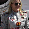 Driver Pippa Mann after being introduced at the Las Vegas Indy 300 Oct. 16, 2011. Mann had surgery on her hand after the crash on Lap 12