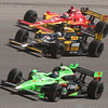 Danica Patrick #7 leads Mike Conway #27 and Wade Cunningham #17 into Turn 4 at the Las Vegas Indy 300. Oct. 16, 2011