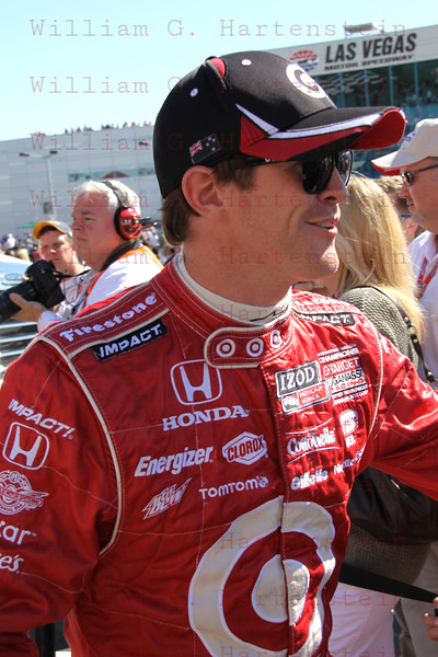 Driver Scott Dixon after being introduced at the Las Vegas Indy 300 Oct. 16, 2011