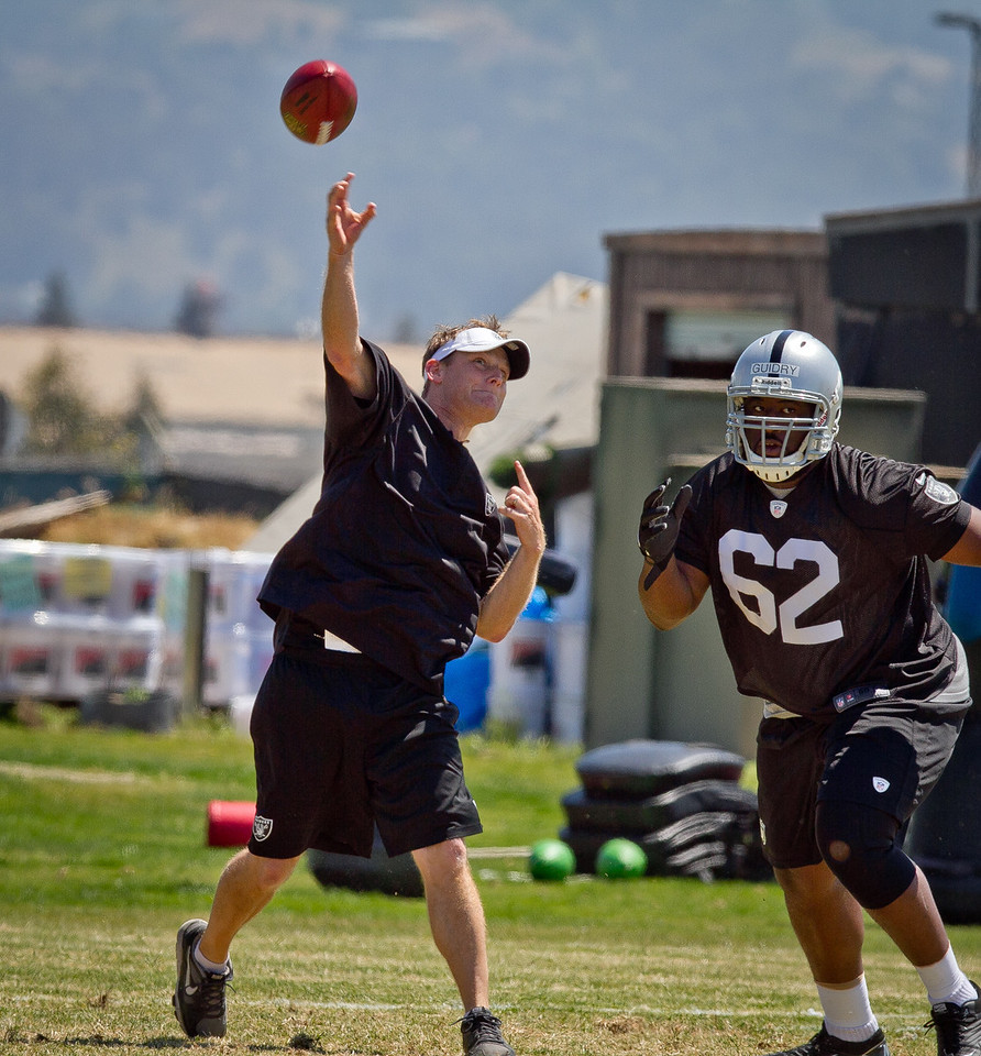 Raider's defensive coordinator Jason Tarver throws a pass as Ralph Guidry defends during a rookie minicamp at the Raider training facility in Alameda, Calif.,  on Saturday, May 12th, 2012.