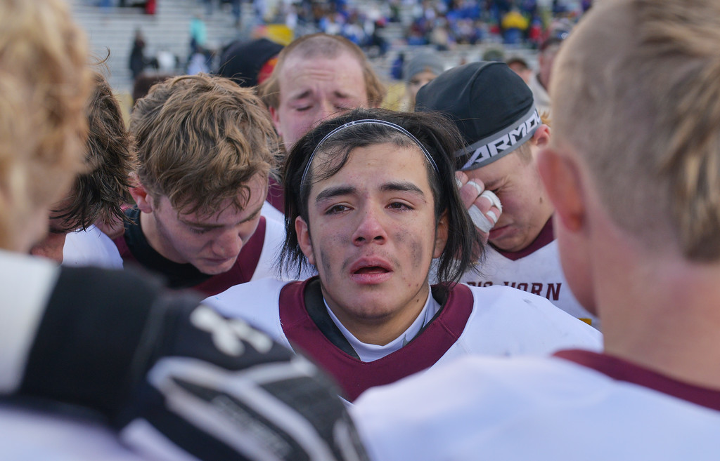 Justin Sheely   The Sheridan Press<br /> Big Horn's senior Roman Zuniga looks on after the Hornets claim the Class 1A State Title Saturday, November 11, 2017, at War Memorial Stadium in Laramie. The Rams lost 20-16 to Pine Bluffs to take runner-up in the championship.