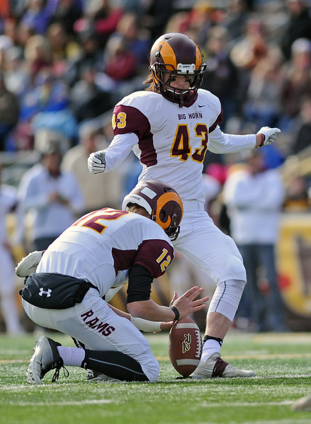 Big Horn's Jack Nance kicks a 25-yard field goal during the 1A state championship on Saturday, Nov. 11 at War Memorial Stadium. Mike Pruden | The Sheridan Press