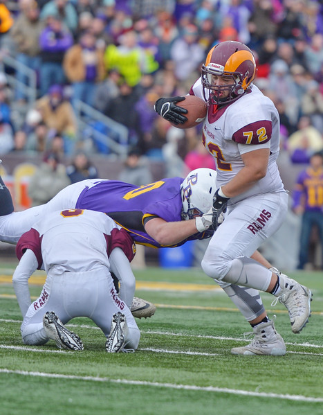 Justin Sheely | The Sheridan Press<br /> Big Horn's lineman Jaxon Parker saves a fumble during the Class 1A State Championship Saturday, November 11, 2017, at War Memorial Stadium in Laramie. The Rams lost 20-16 to Pine Bluffs to take runner-up in the championship.