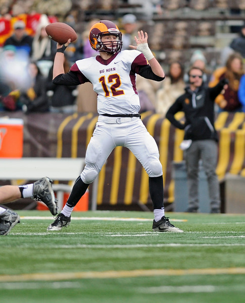 Big Horn quarterback Quinn McCafferty makes a throw during the 1A state championship on Saturday, Nov. 11 at War Memorial Stadium. Mike Pruden | The Sheridan Press