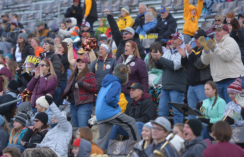 Justin Sheely | The Sheridan Press<br /> Big Horn fans cheer for the Rams during the Class 1A State Championship Saturday, November 11, 2017, at War Memorial Stadium in Laramie. The Rams lost 20-16 to Pine Bluffs to take runner-up in the championship.