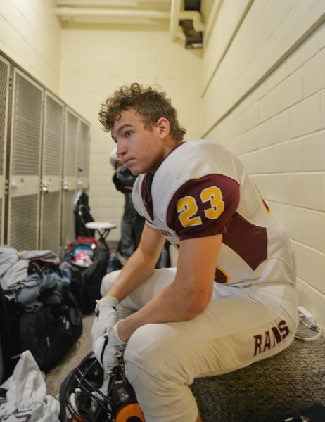 Justin Sheely | The Sheridan Press<br /> Ram's wide receiver Kade Eisele waits in the Rams' locker room during the Class 1A State Championship Saturday, November 11, 2017, at War Memorial Stadium in Laramie. The Rams lost 20-16 to Pine Bluffs to take runner-up in the championship.