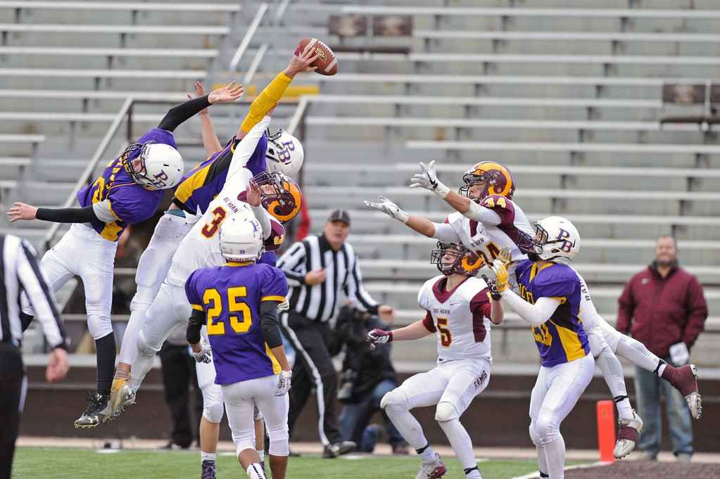 Pine Bluffs' Haize Fornstrom tips away Big Horn's final hail Mary attempt during the 1A state championship on Saturday, Nov. 11 at War Memorial Stadium. Mike Pruden | The Sheridan Press