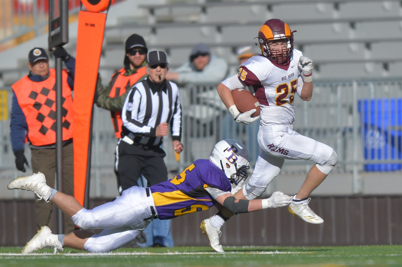 Justin Sheely | The Sheridan Press<br /> Big Horn's Kade VanDyken makes a play during the Class 1A State Championship Saturday, November 11, 2017, at War Memorial Stadium in Laramie. The Rams lost 20-16 to Pine Bluffs to take runner-up in the championship.