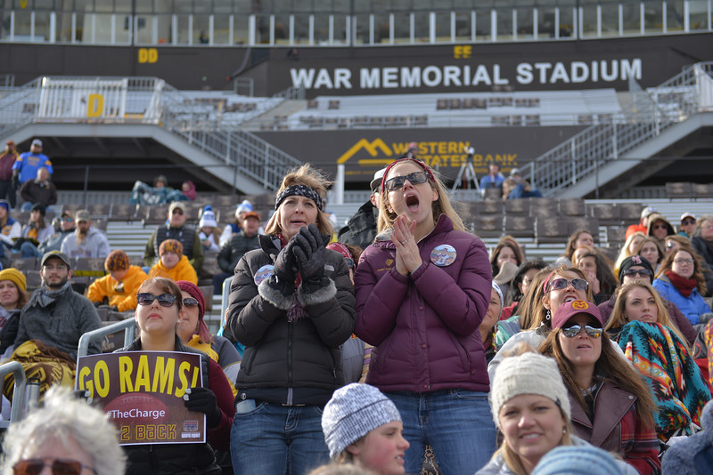 Justin Sheely | The Sheridan Press<br /> Big Horn parents and students cheer for the Rams during the Class 1A State Championship Saturday, November 11, 2017, at War Memorial Stadium in Laramie. The Rams lost 20-16 to Pine Bluffs to take runner-up in the championship.