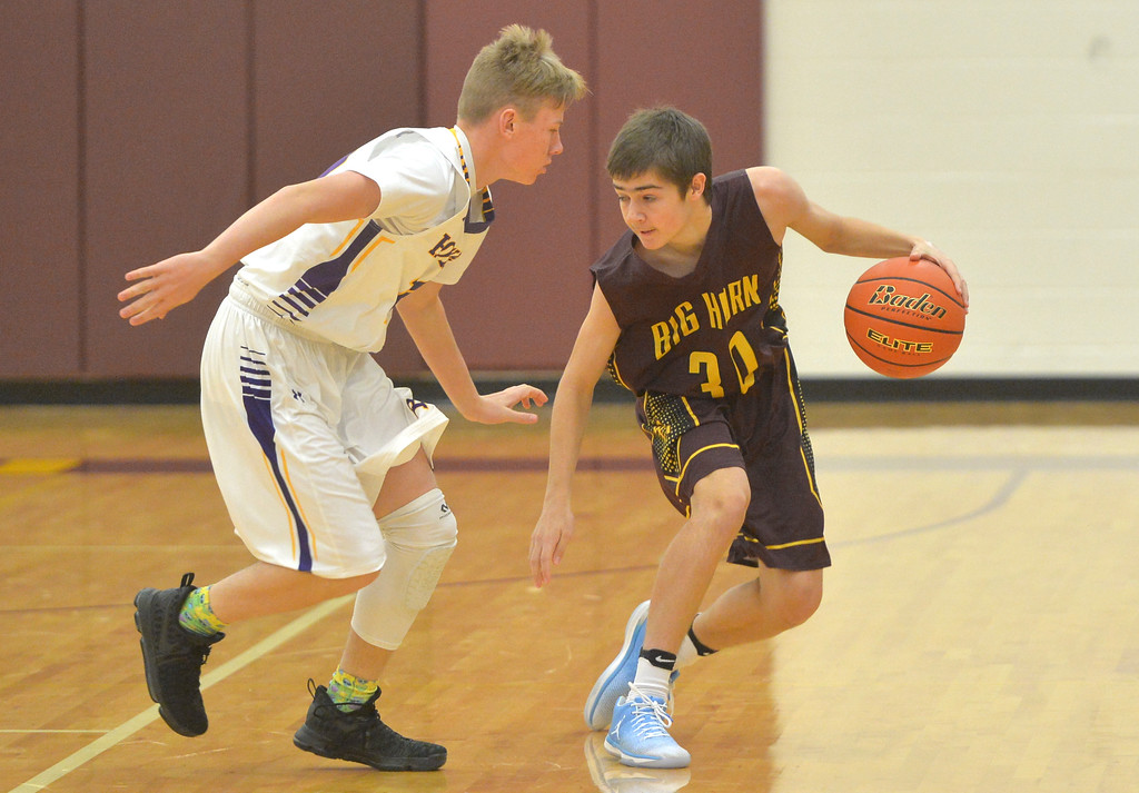 Justin Sheely | The Sheridan Press<br /> Big Horn's Robert Morton moves against Pine Bluffs at Big Horn High School Friday, Jan. 5, 2018. The Rams lost to Pine Bluffs 59-41.