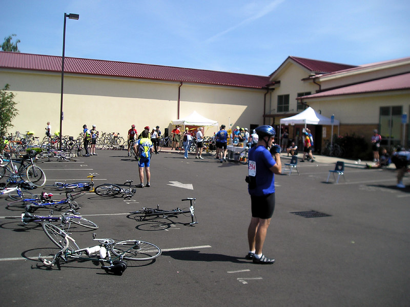 Arrival for lunch at Amity HS.   Halfway there! 48 miles (10:30am)