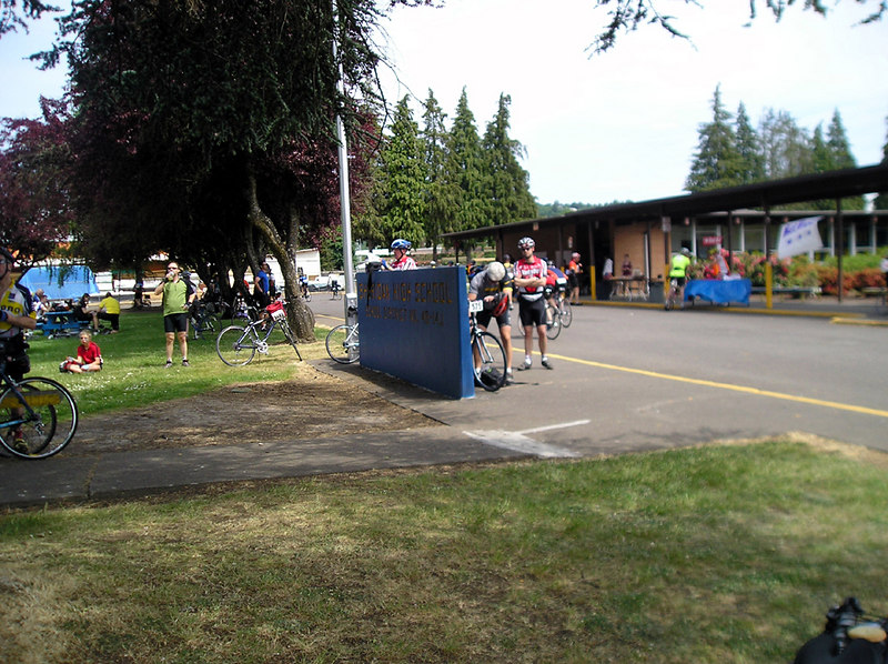 A quick stop at Sheridan HS.  Metric century distance done.  63 miles (11:58am)