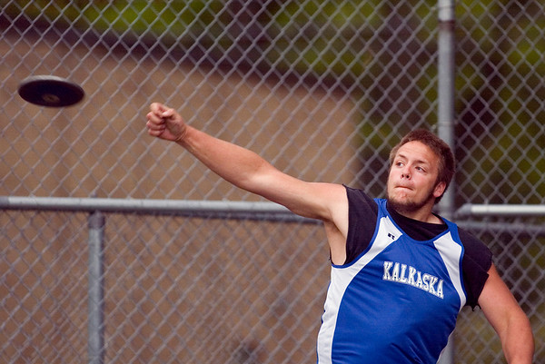 Record-Eagle/Jan-Michael Stump<br /> Kalkaska's Ethan Miltenberger throws the discus.