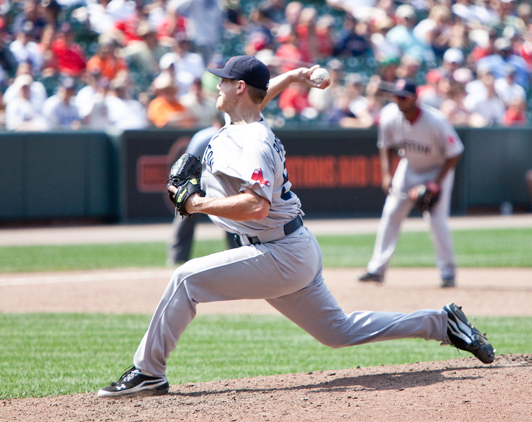 Jonathan Pappelbon in motion during a Red Sox - Orioles game at Camden Yards on July 20, 2011.