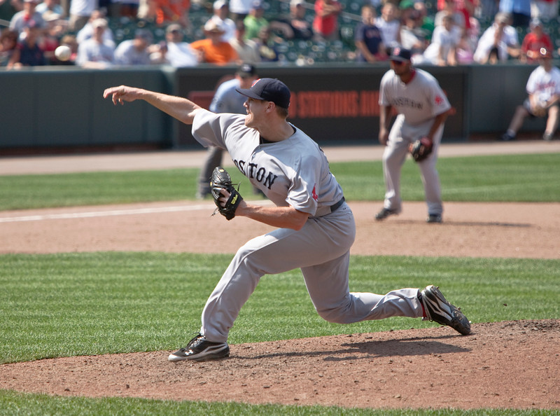 Jonathan Pappelbon releases a pitch during a Red Sox - Orioles game at Camden Yards on July 20, 2011.