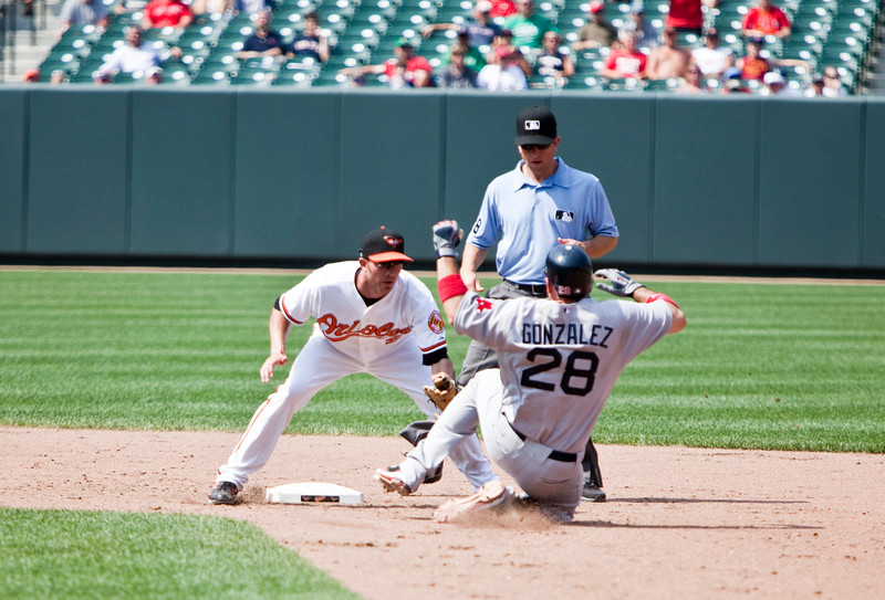 Adrian Gonzalez getting caught stealing during a Red Sox - Orioles game at Camden Yards on July 20, 2011.