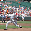 Andrew Miller in his pitching motion during a Red Sox - Orioles game at Camden Yards on July 20, 2011.