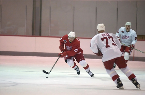 (Record-Eagle file photo) Henrik Zetterberg (15) at Detroit Red Wings training camp in Traverse City in 2002.