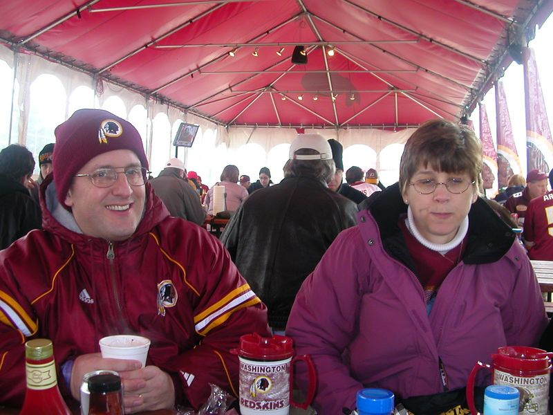 Jan is a little cold at the Tailgate Club.