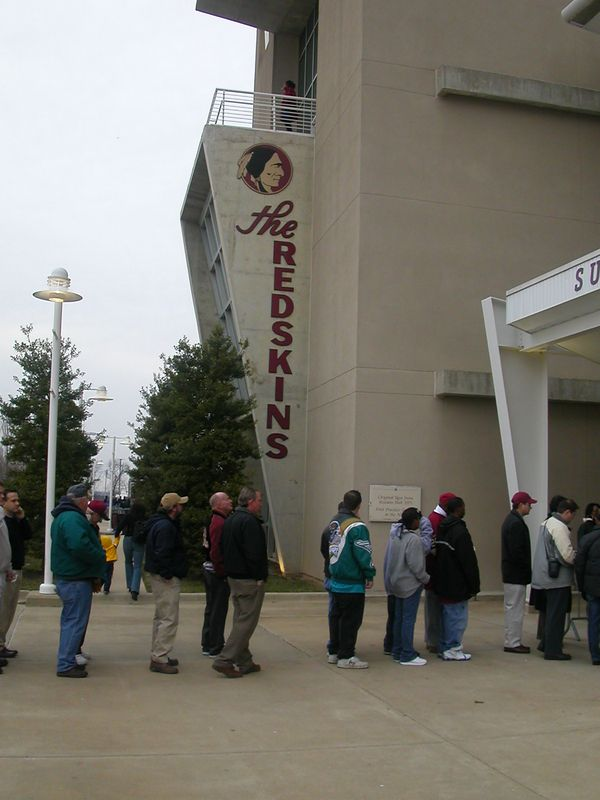 Lining up to get in to Fed Ex Field.