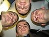 Gustavo, Liarte, Rober y Carrasco en el ascensor del hotel