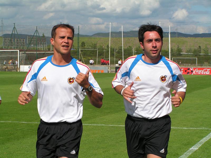 Calentamiento con Gustavo y Duran, Osasuna B - Zaragoza B Temporada 2004-2005