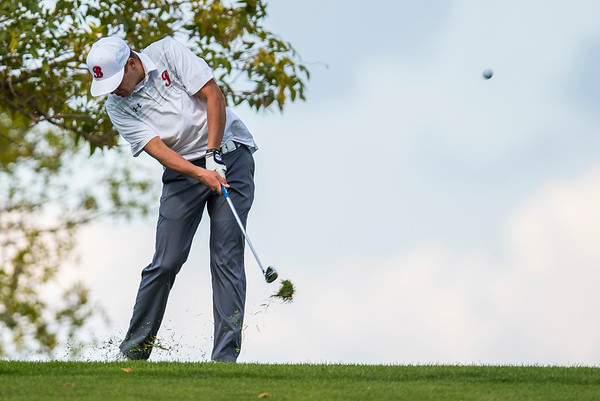 Luke Stout of Bountiful High School competes during the Region 5 boys golf tournament on Monday September 25, 2017, at Hubbard Golf Course on Hill Air Force Base in Layton .