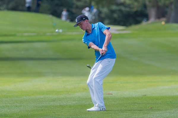 Grant Wilson of Woods Cross High School competes during the Region 5 boys golf tournament on Monday September 25, 2017, at Hubbard Golf Course on Hill Air Force Base in Layton.