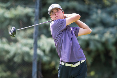 Cameron Sanders of Box Elder High School competes during the Region 5 boys golf tournament on Monday September 25, 2017, at Hubbard Golf Course on Hill Air Force Base in Layton.