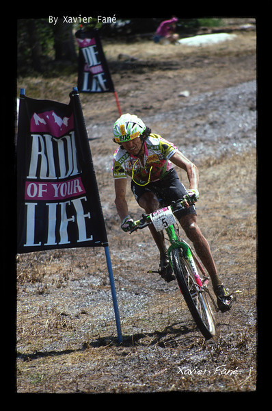 "Tinker Juarez gets down and dirty at the 1991 ""Ride of your Life"" in Vail."