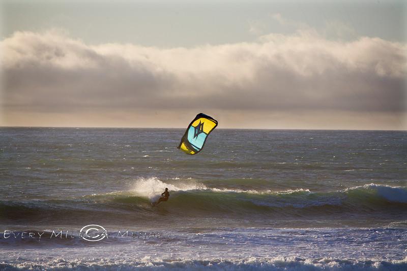 Sunset Carves  - Kite Boarding at Jamala Beach California - Photo by Pat Bonish