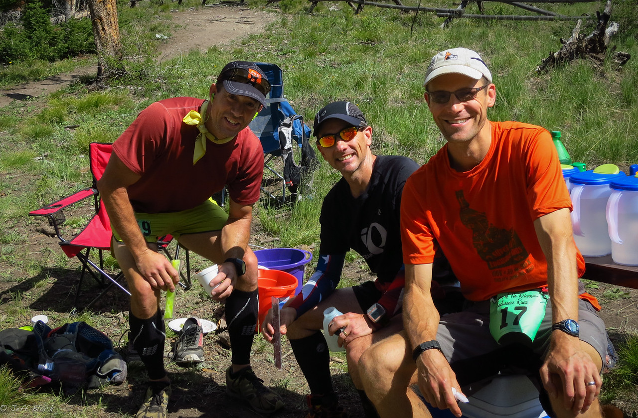 John O, Tony H, and I intersect and sit for popsicles at Fanny's.  Photo:  aid station volunteer.