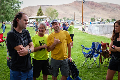 Friendly faces at the pre-race meeting.