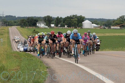 Rachel Wills (Chicago Women's Elite Cycling) leads the peleton up a small rise on the second Rural lap.