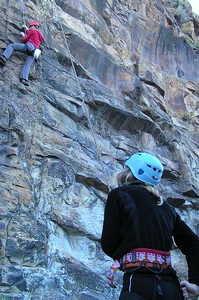 Nightfel 13. Christabel (left) is climbing with Alice (right) belaying. 15 Sep 05