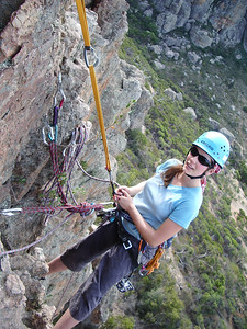 Amanda on a hanging belay, the Organ Pipes  Photo: Bernardo